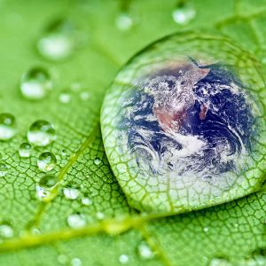 Earth inside Rain Drop